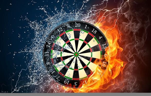 Картинка вода, капли, брызги, огонь, пламя, дым, разряд, силы, дартс, мишень, wallpaper., darts, стихий