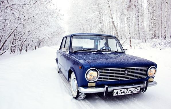 Картинка зима, лес, снег, копейка, синяя, жигули, лада, 2101, Ваз