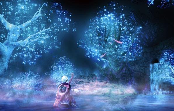 Картинка вода, деревья, ночь, озеро, оружие, водопад, меч, аниме, арт, парень