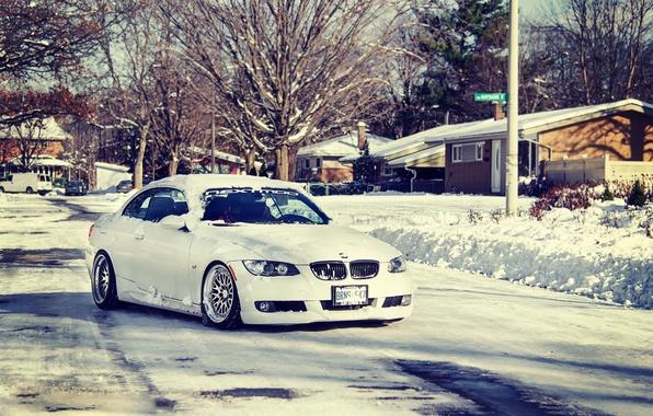 Картинка зима, дорога, снег, bmw, 335i, stance, e93, ccw, 3series, stanceworks