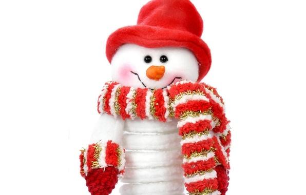Картинка красный, праздник, шапка, новый год, шарф, снеговик