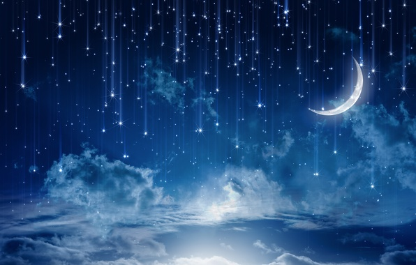 Картинка небо, звезды, облака, пейзаж, ночь, природа, lights, огни, дождь, луна, moon, rain, sky, landscape, nature, …