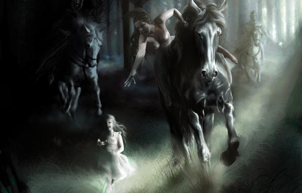Картинка лошадь, рисунок, погоня, девочка