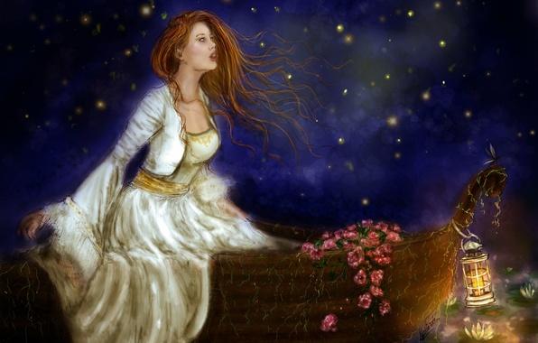 Картинка небо, взгляд, девушка, цветы, лицо, лодка, волосы, огоньки, платье, фонарь, живопись