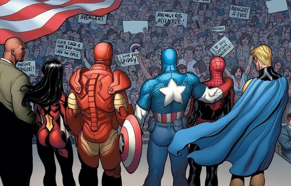 Картинка толпа, Iron Man, Captain America, Marvel Comics, Spider-Man, Spider-Woman, Sentry, Luke Cage
