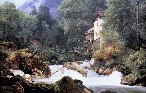 Картинка картина, 1940, Фердинанд Георг Вальдмюллер, Ferdinand Georg Waldmüller, австрийский художник, Mühle am Ausfluss des Königssees