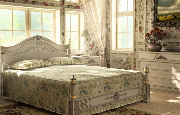 Картинка цветы, ковёр, картина, подушки, окно, постель, светильник, тумбочка, занавески, ваза