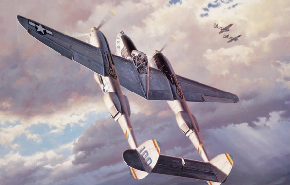 Картинка fighter, war, art, airplane, painting, aviation, ww2, p 38 lightning