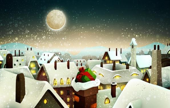 Картинка снег, город, подарок, окна, дома, Зима, Луна