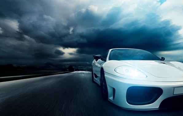 Картинка ночь, скорость, шоссе, Ferrari, white, 360, front