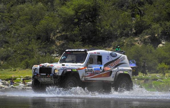 Картинка Вода, Авто, Белый, Спорт, Брызги, Land Rover, Rally, Dakar, Внедорожник, Defender, 445