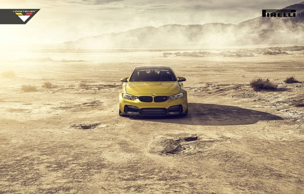Картинка BMW, Car, Front, Vorsteiner, Yellow, Pirelli, Wheels, Desert, 2015, Skid, GTRS4