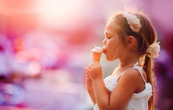 Картинка мороженое, девочка, рожок, ребёнок