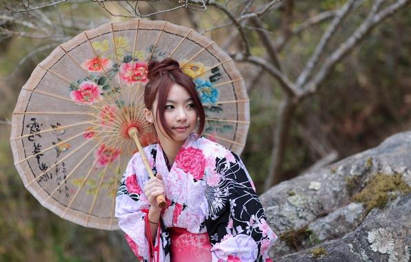 Картинка девушка, стиль, зонт, наряд, азиатка
