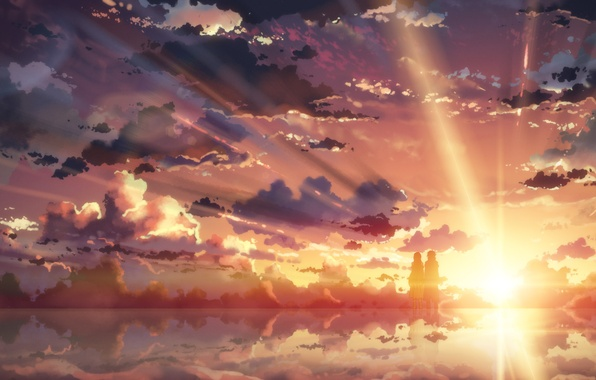 Картинка небо, вода, девушка, солнце, облака, закат, отражение, аниме, арт, парень, yuuki tatsuya, sword art online, …