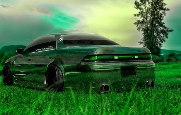 Картинка Природа, Авто, Трава, Машина, Тюнинг, Обои, Japan, Toyota, Nature, Grass, Art, Зеленая, Фотошоп, Green, Design, …