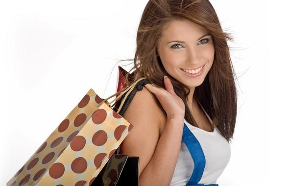 Картинка девушка, радость, счастье, улыбка, настроение, смех, хорошее настроение, покупки, веселье, пакеты, шопинг, обновки