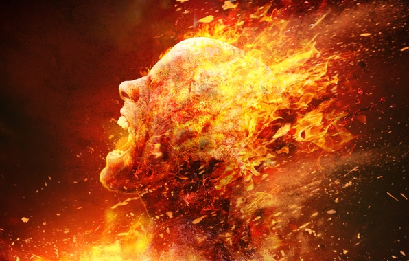 Обои голова, fire, death, плоть