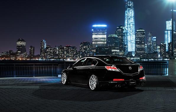 Картинка car, ночь, город, тюнинг, Honda, acura tl, акура