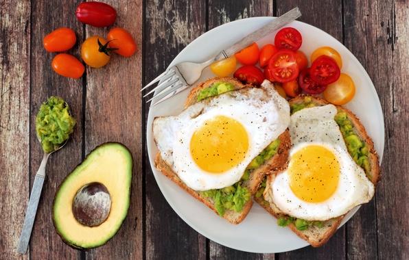 Картинка доски, тарелка, хлеб, ложка, вилка, яичница, овощи, помидоры, специи, авокадо, egg, tomato, spices