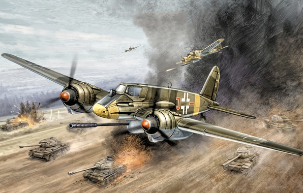 "Картинка war, art, painting, aviation, ww2, Henschel Hs 129 B3, ""Tank Buster"", ground-attack aircraft"