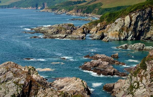 Картинка море, камни, скалы, побережье, Англия, Devon, Mothecombe