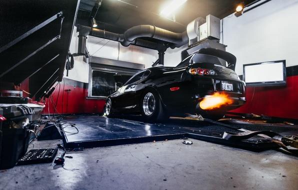 Картинка машина, авто, огонь, гараж, Toyota, auto, Supra, выхлоп, Charles Siritho