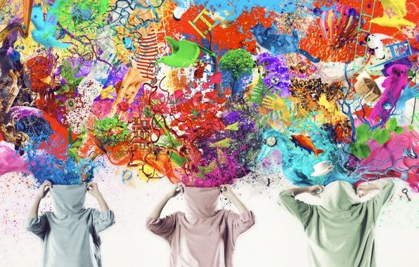 Картинка деревья, рыбки, бабочки, брызги, птицы, ветки, воздушный шар, креатив, фантазия, краски, яркость, воображение