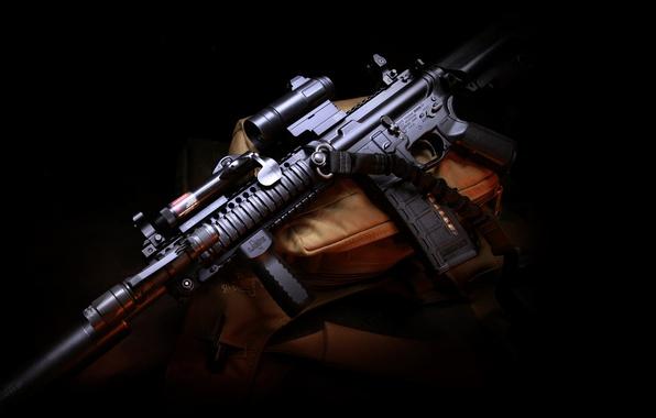 Картинка оружие, gun, сумка, полумрак, weapon, глушитель, hd wallpaper, штурмовая винтовка, Larue Tactical, assault carbine