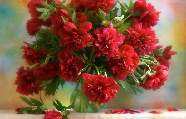 Картинка Цветы, букет, ваза, пионы