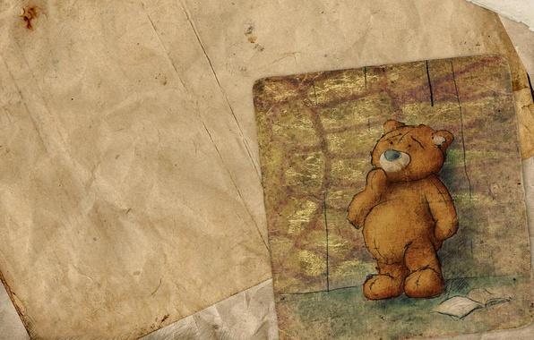 Картинка бумага, рисунок, листок, мишка, книга