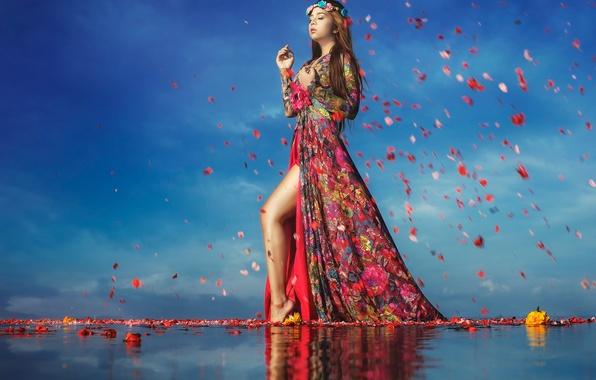 Картинка вода, девушка, цветы, лепестки, походка