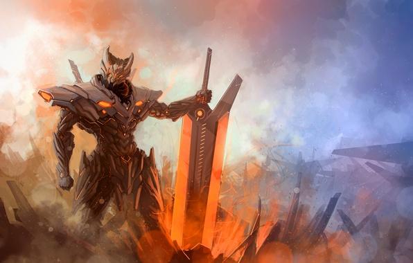 Картинка энергия, туман, меч, Воин, броня, hi-tech, League of Legends, Jarvan IV