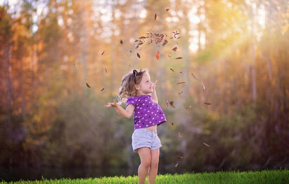 Картинка осень, листья, девочка, боке