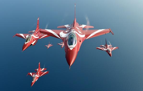 Картинка группа, F-16, Fighting Falcon, пилотажная, ВВС Сингапура, Чёрные Рыцари