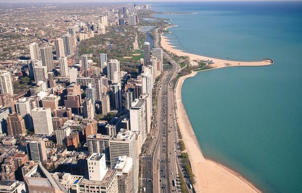 Картинка пляж, машины, город, парк, океан, транспорт, здания, дороги, Чикаго, USA, США, Chicago, высотки, стадион, волнорезы, …