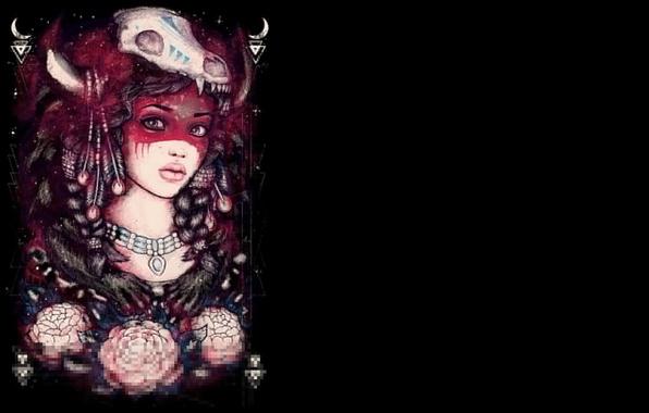 Картинка цвета, девушка, фон, краски, череп