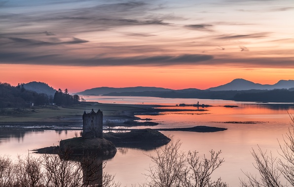Картинка небо, горы, озеро, башня, Шотландия, панорама