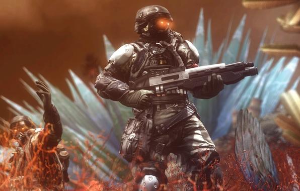 Картинка рендеринг, оружие, солдаты, шлем, killzone, Killzone: Shadow Fall, Shadow Fall, helghast