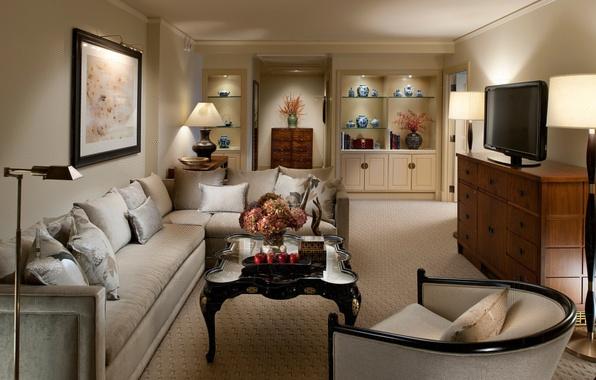 Картинка цветы, дизайн, стиль, лампы, комната, диван, интерьер, картина, телевизор, кресла, шкаф, столик, комод, гостиная, вазы, …