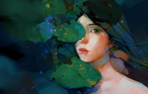Картинка взгляд, листья, арт, нарисованная девушка