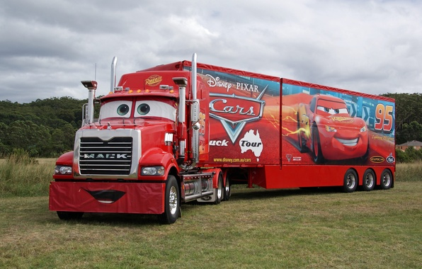 Картинка красный, pixar, грузовик, cars, truck, mack, трейлер, тягач
