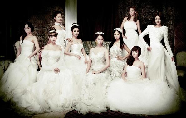 Картинка девушки, позирование, белые, невеста, азиатки, платья, SNSD, Girls Generation