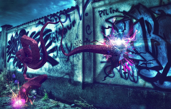 Картинка colorful, wallpaper, wall, graffiti, blue, background, abstraction, purple