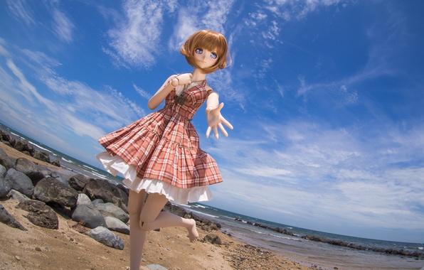 Картинка море, небо, природа, камни, игрушка, кукла