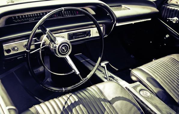 Картинка car, панель, кожа, приборы, руль, салон, photo, photographer, retro, muscle car, markus spiske, interieur