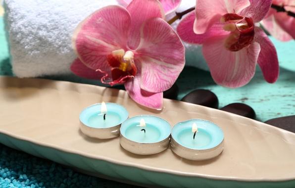 Картинка цветы, полотенце, свечи, орхидея