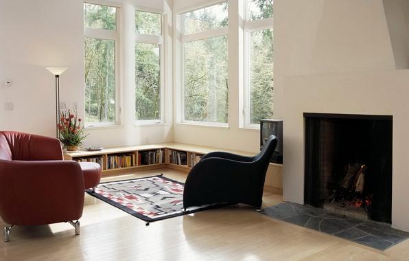 Картинка книги, лампа, кресло, окно, камин, гостиная