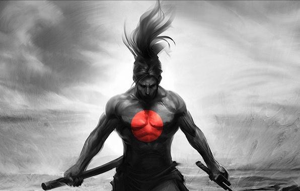 Картинка красный, рисунок, япония, круг, самурай, Art