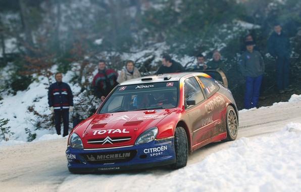 Картинка Красный, Зима, Авто, Снег, Спорт, Машина, Поворот, Гонка, Citroen, WRC, Rally, Ралли, Xsara